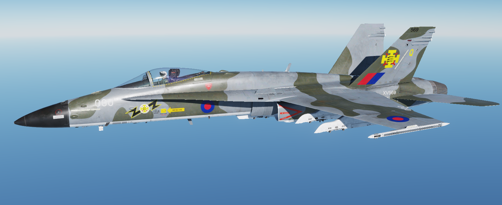 Royal Air Force F/A-18C Hornet Fictional skin based on a Phantom FG1 livery