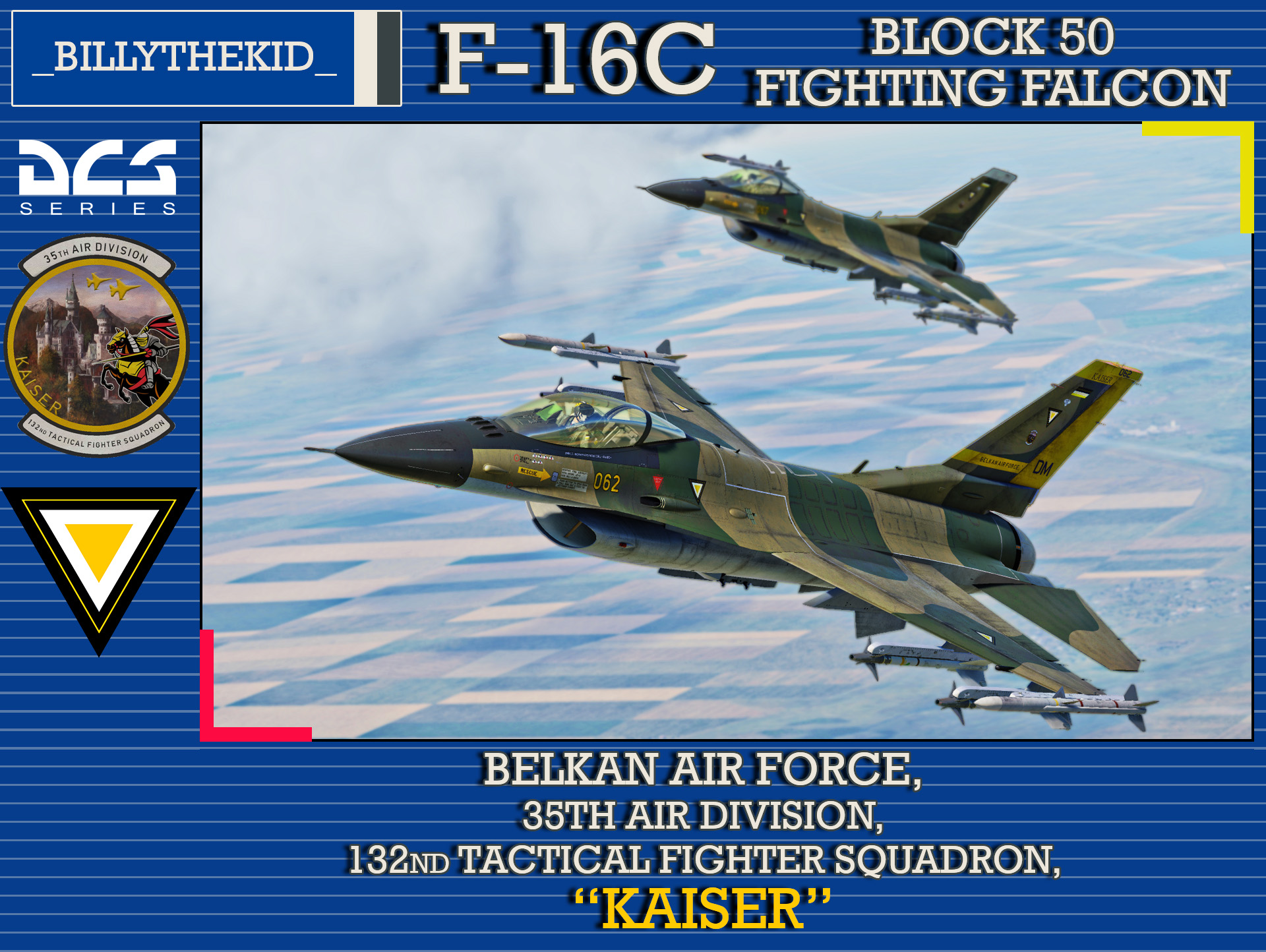 "Ace Combat - Belkan Air Force 35th Air Division, 132nd Tactical Fighter Squadron ""Kaiser"" F-16C Block 50 Fighting Falcon"