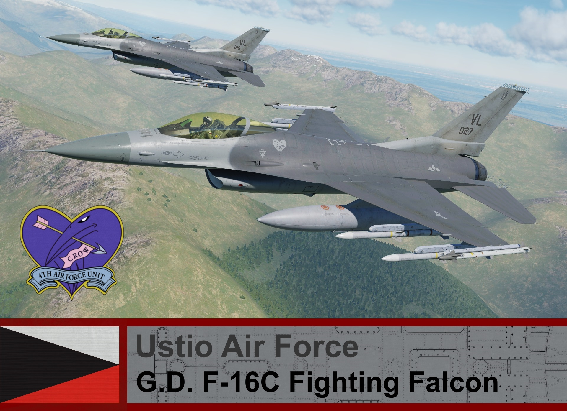 Ustio Air Force F-16C Block 50 - Ace Combat Zero, (04th AFU) Crow 1 & Crow 2
