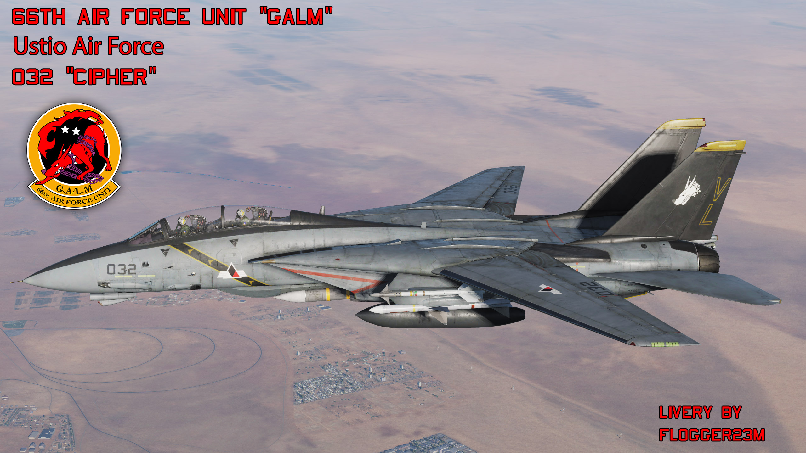 Galm Team 66th Air Force Unit 032 Cipher - Livery for F-14B - By Flogger23m