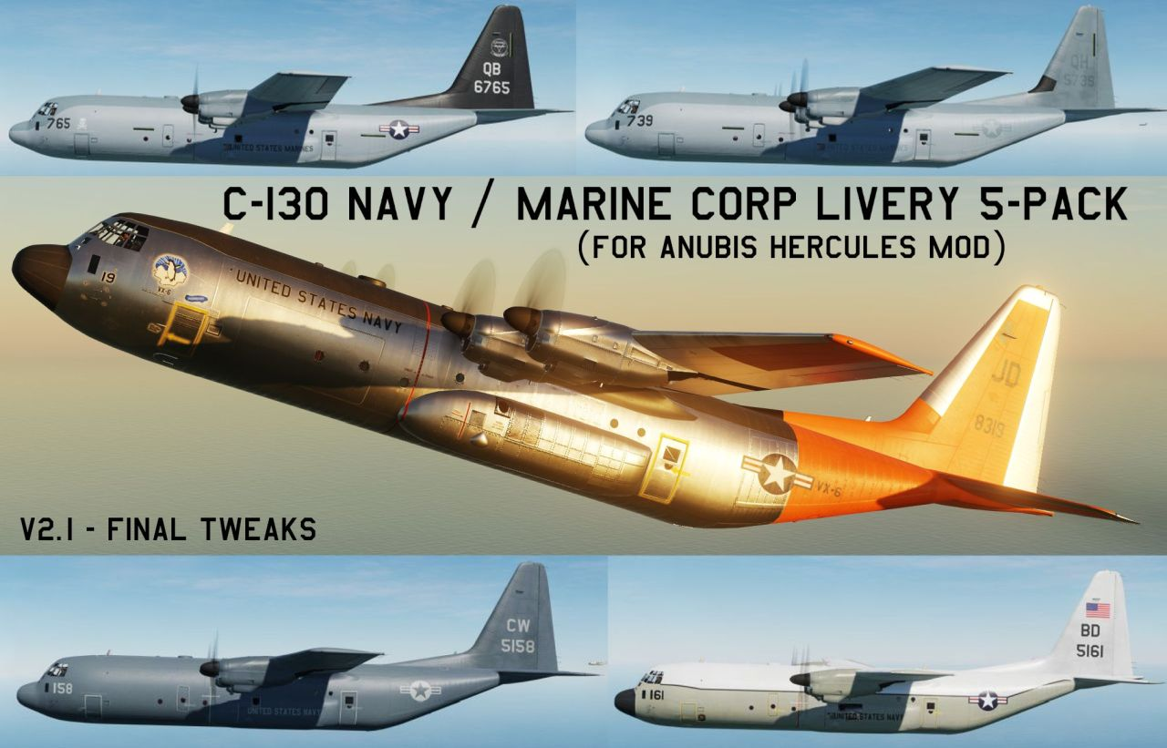 C-130 US Navy and Marine Corp Livery pack (for Anubis Hercules mod)